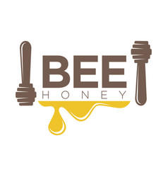 bee honey logo design with two dippers isolated on vector image vector image