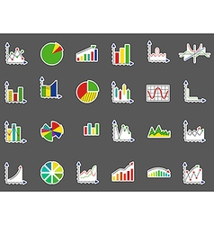 Charts stickers set vector image vector image