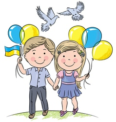 Children with balloons and flag vector