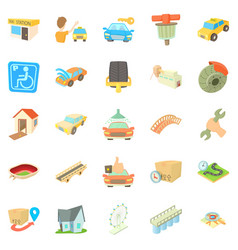 City elements icons set cartoon style vector