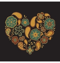 Colorful heart with mehendi flowers and leafs on vector image
