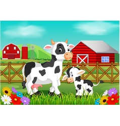 cute cow in the farm vector image vector image