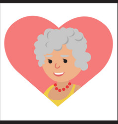 drawing of icon elderly woman in the heart vector image vector image