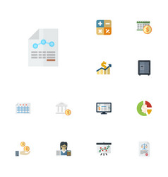 flat icons sheet accounting system bank and vector image