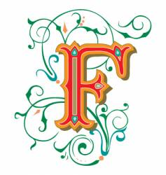 floral letter f vector image vector image