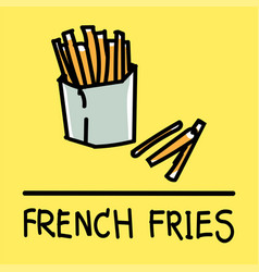 french fries hand-drawn style vector image vector image