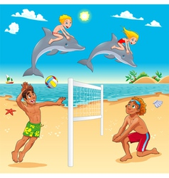 Funny summer scene with dolphins and beachvolley vector