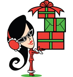 Girl with Christmas presents vector image