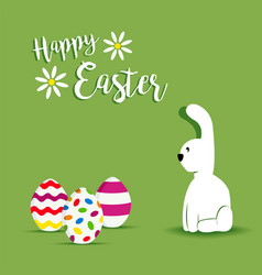 Happy easter white bunny spring design vector