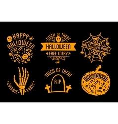 Happy Halloween logo with curving pumpkins vector image vector image