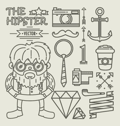 Hipster character design Linear vector image