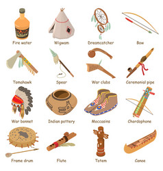 Indians ethnic american icons set isometric style vector