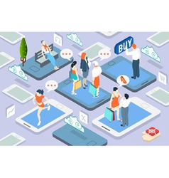Isometric People Network Concept vector image vector image