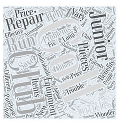 Junior Golf Club Repair Equipment Word Cloud vector image vector image