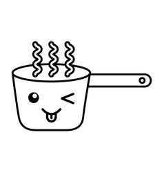 Kawaii cooking pot cartoon vector