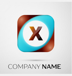 letter x logo symbol in the colorful square on vector image vector image