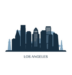 Los angeles skyline monochrome silhouette vector