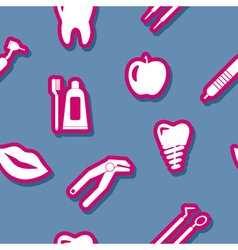 Seamless background with dental symbols vector