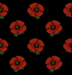 seamless pattern with cross stitch red poppies vector image vector image