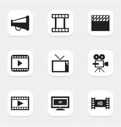 Set of 9 editable movie icons includes symbols vector