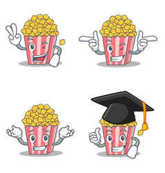 Set of popcorn character with two finger wink vector