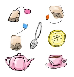 Sketch of tea icons vector image