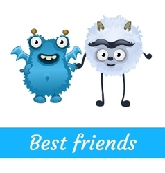 Two best friends white and blue mutant toon vector