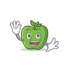 waving green apple character cartoon vector image