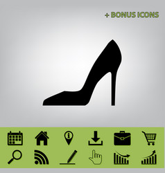 Woman shoe sign black icon at gray vector