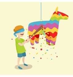 Child breaks the pinata cartoon vector