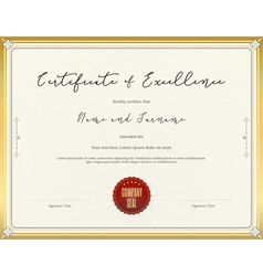 Certificate template for excellence vector