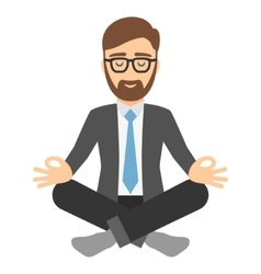 Businessman in suit meditating vector