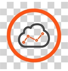 Cloud analytics flat rounded icon vector