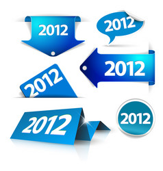 2012 labels stickers pointers tags vector