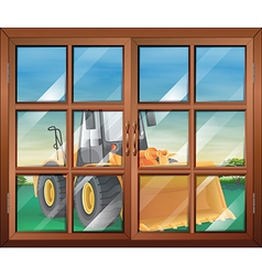 A closed window with a bulldozer vector