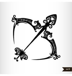 Zodiac signs black and white - Sagittarius vector image