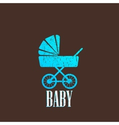 Vintage with a baby pram vector