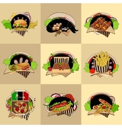Set of nine fast-food vector
