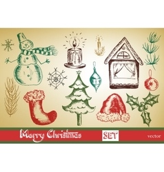 hand drawn New Year and Merry Christmas set vector image