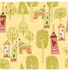 Village pattern background vector