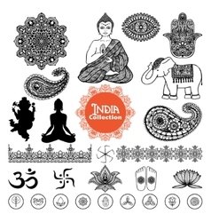 Hand Drawn India Design Elements Set vector image