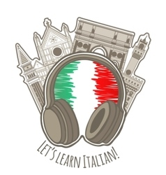 Studying italian language colored label vector