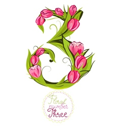 Decorative number three made with tulips vector