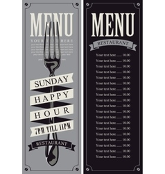 Menu with fork for the restaurant vector
