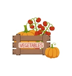 Vegetables in wooden crate vector