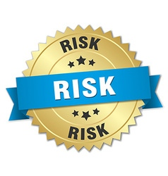 Risk 3d gold badge with blue ribbon vector