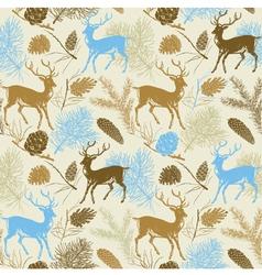 Forest Deer Background Pattern vector image