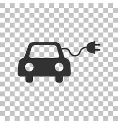 Eco electric car sign dark gray icon on vector