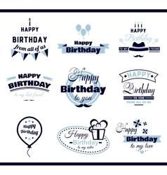 Happy birthday monochrome labels vector