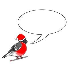 A funny Christmas bullfinch with a speech bubble vector image vector image